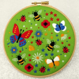 butterflies and bees embroidery kit