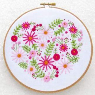 pink floral heart embroidery kit