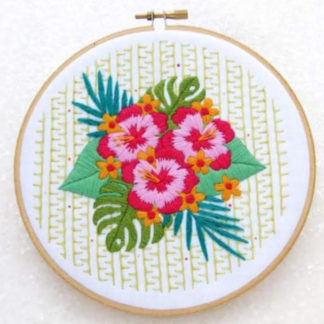 tropical flower embroidery kit