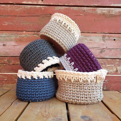 T-shirt yarn crochet baskets