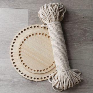 Crochet wooden basket bottom