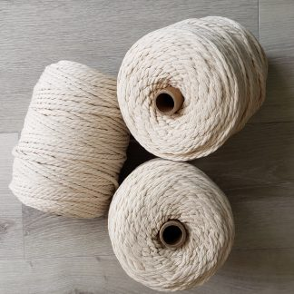 Natural large cones of macrame cord