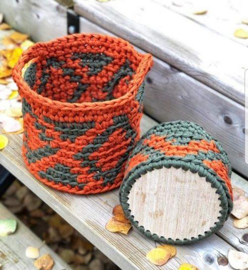 Harvest moon tapestry crochet basket