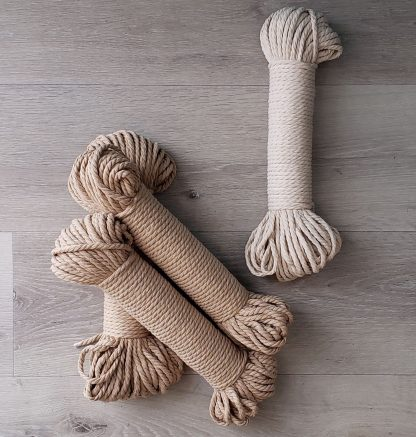 Sand and natural recycled cotton rope