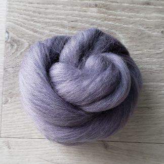 Grey purple wool roving