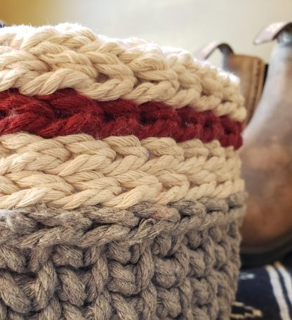 Cabin crochet basket close up
