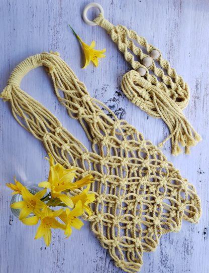 Yellow macrame bag and plant hanger