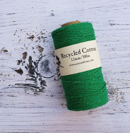 green 1.5mm cotton rope