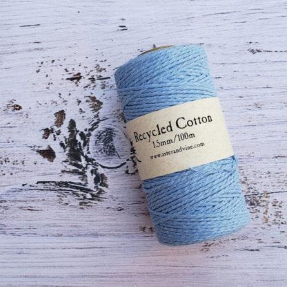 light blue 1.5mm cotton rope