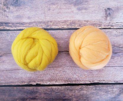 Mustard and creamsicle wool roving