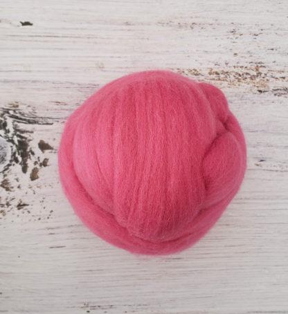 Deep pink wool roving