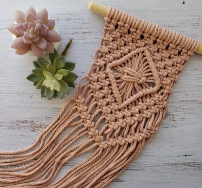 macrame wall hanging with blush rope