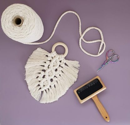 Macrame feather with brush tool