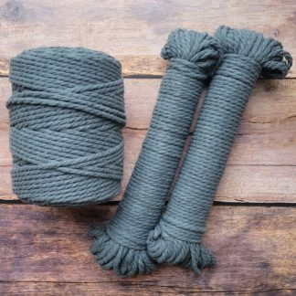 5mm dark grey recycled cotton rope