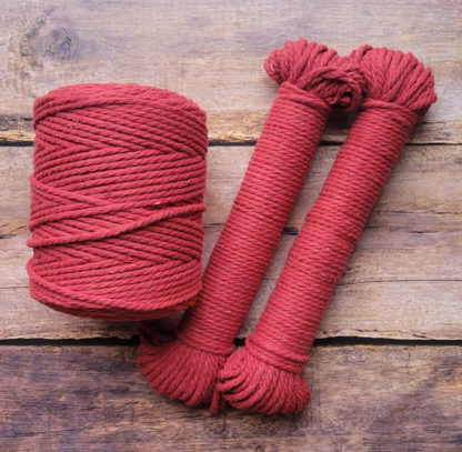 4mm red recycled cotton rope