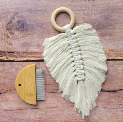 rope comb and macrame feather